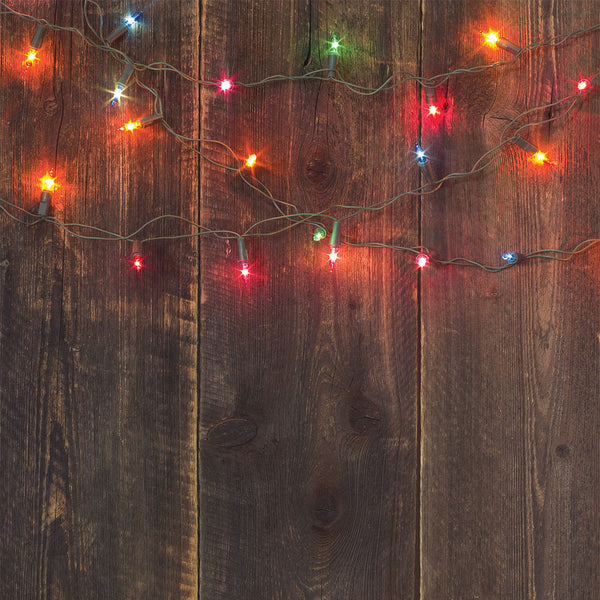 Christmas Light Planks Photo Backdrop