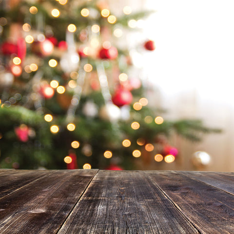 Christmas Tree Planks Photo Backdrop
