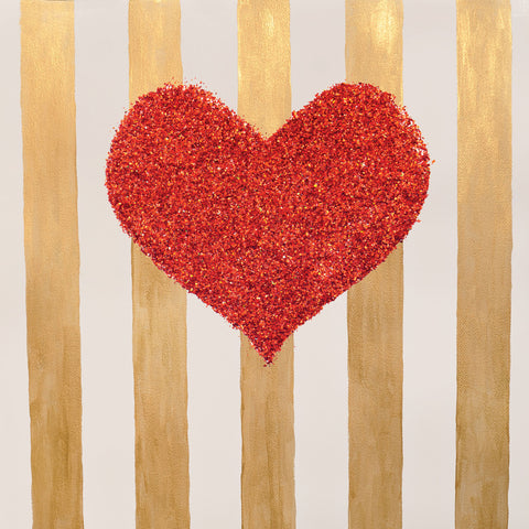 Used - Gold Stripe Heart Photo Backdrop