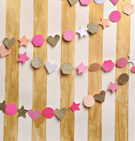 Gold Stripe Valentines Banner Photo Backdrop