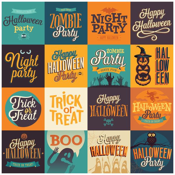 Happy Halloween Squares Photo Backdrop