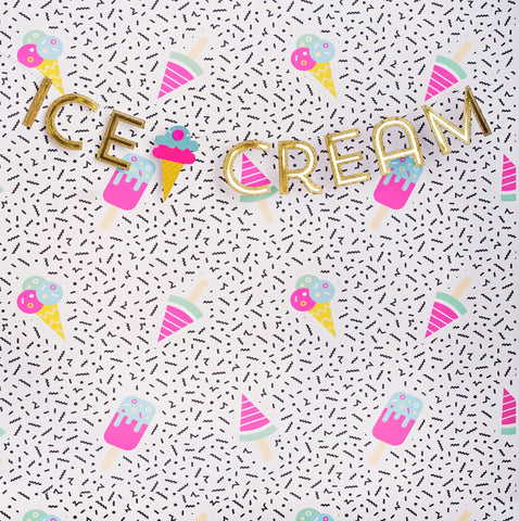 Ice Cream Gold Photo Backdrop