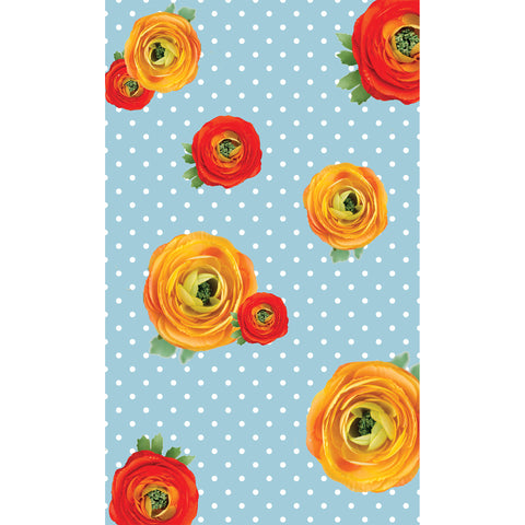 Ranunculus Flowers on Polka Dots Photo Background