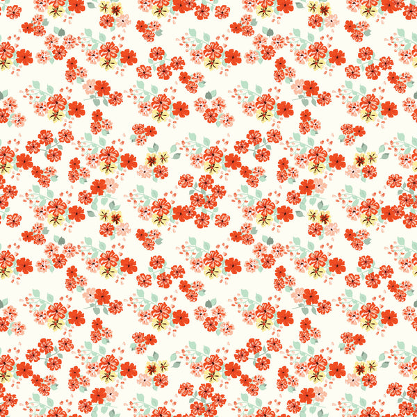 Red Flower Shower Photo Backdrop