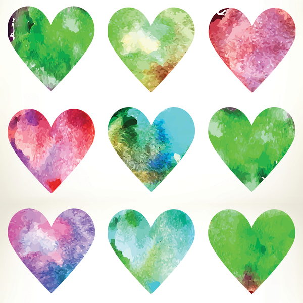 Watercolor Hearts Photo Backdrop