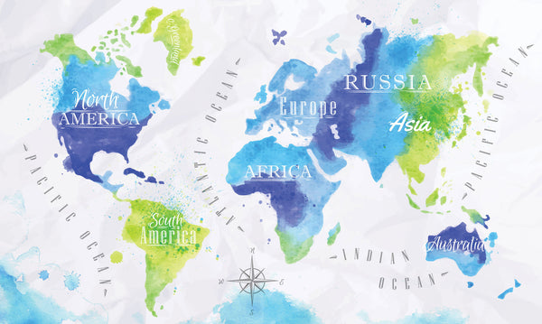 Watercolor World Photo Backdrop