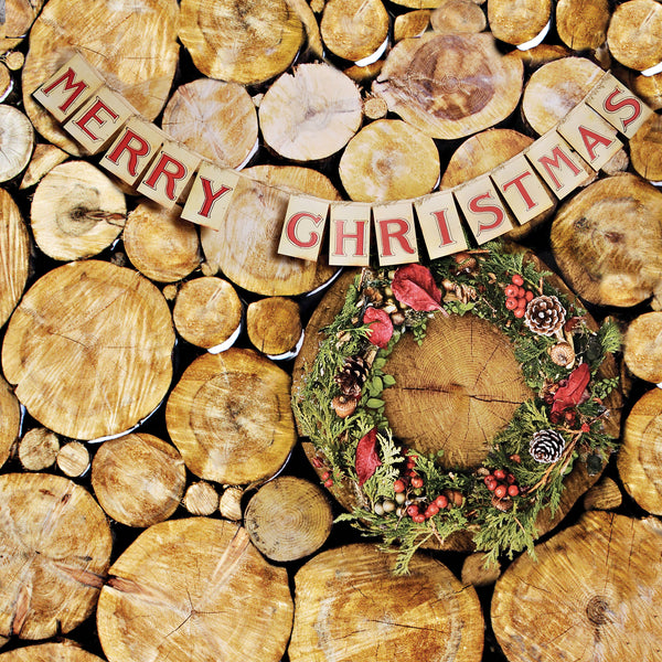 Yule Logs With Banner Photo Backdrop