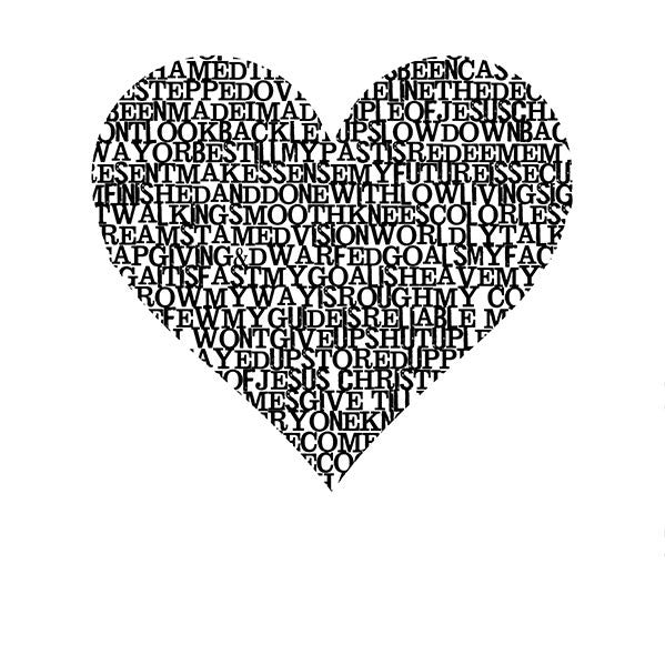 Wordy Heart Photo Backdrop