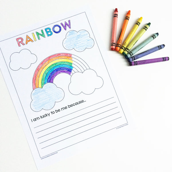 Free Printable | Lucky Rainbow Coloring Page by Tickled Peach Studio