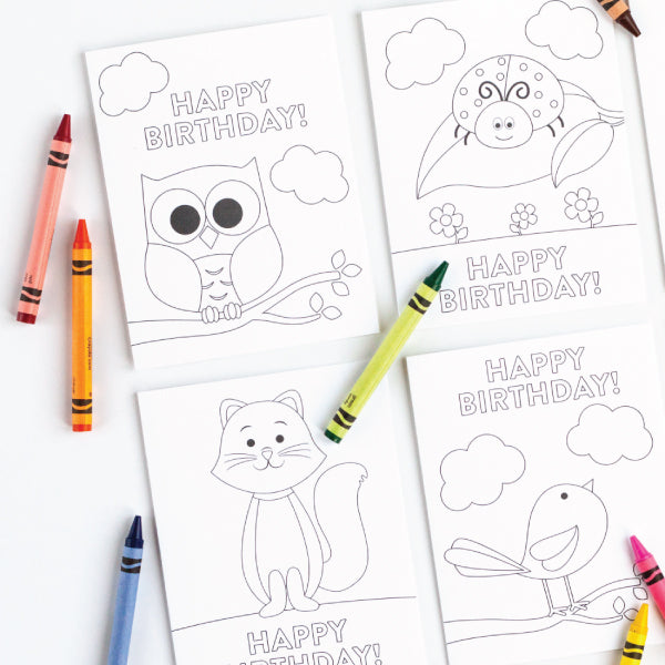 Animal Birthday Coloring Card Set