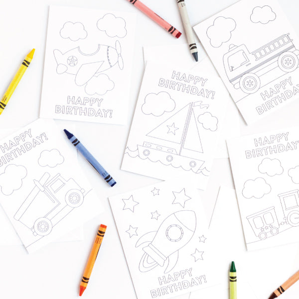 Transportation Birthday Coloring Card Set
