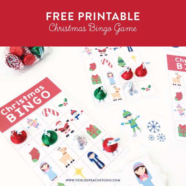 Free Printable - Christmas Bingo Game - by Tickled Peach Studio