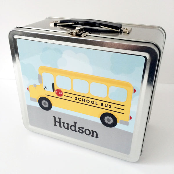 New Metal Lunchboxes for Kids - School Bus Lunch Box from Tickled Peach Studio