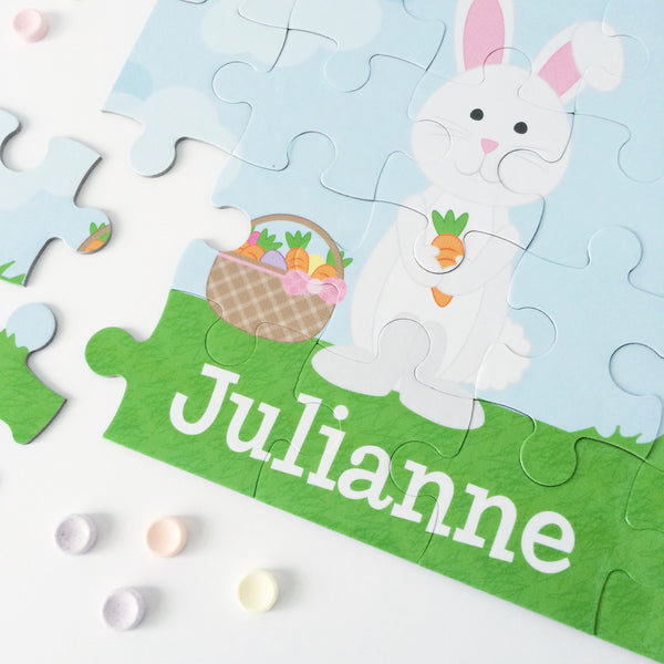 Easter Bunny Personalized Puzzle by Tickled Peach Studio