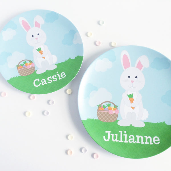 Easter Bunny Personalized Plate by Tickled Peach Studio