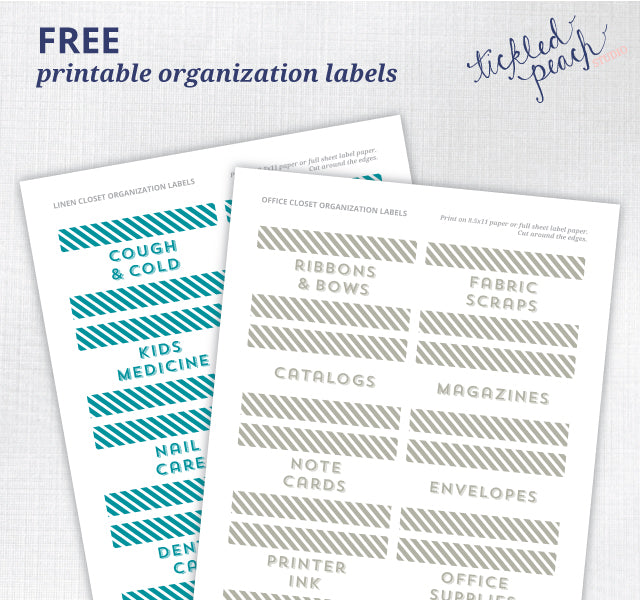 Free Printable Organization Labels by Tickled Peach Studio