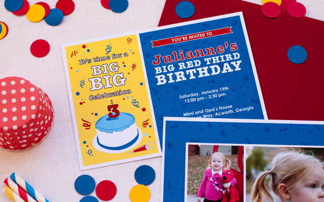 Clifford The Big Red Dog Inspired Invitation by Tickled Peach Studio