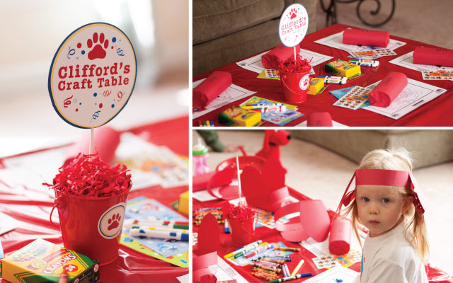 Clifford Birthday Party Craft Table by Tickled Peach Studio