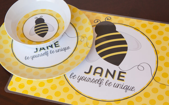 Inspired Kids Collection by Tickled Peach Studio   Personalized Tablewear