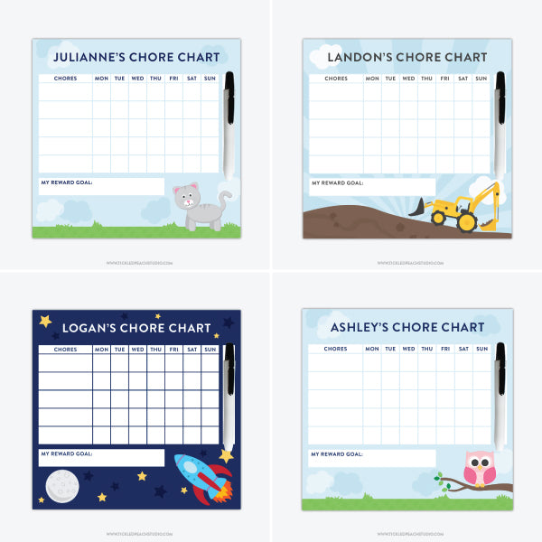 New Personalized Chore Charts for Kids