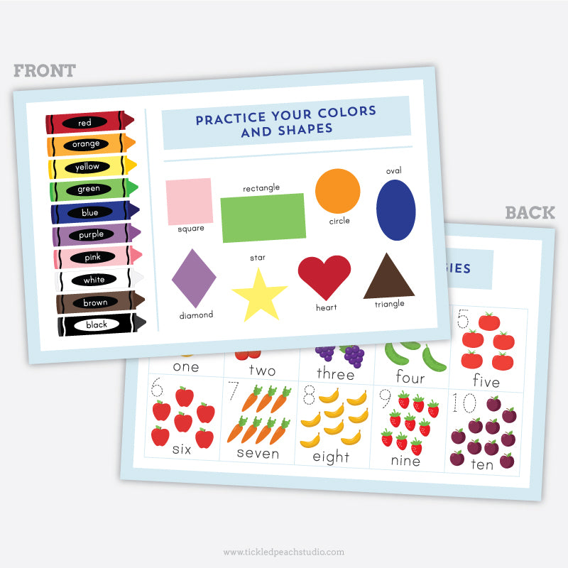Activity Placemat - Colors, Shapes, and Counting - Learning Placemat