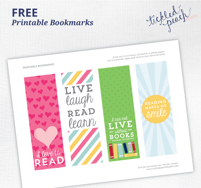 Bookmarks - FREE Printables by Tickled Peach Studio