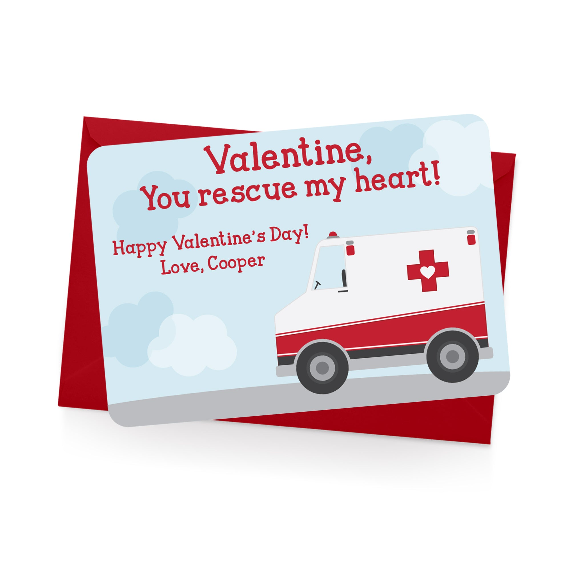 Ambulance Personalized Valentine's Day Cards