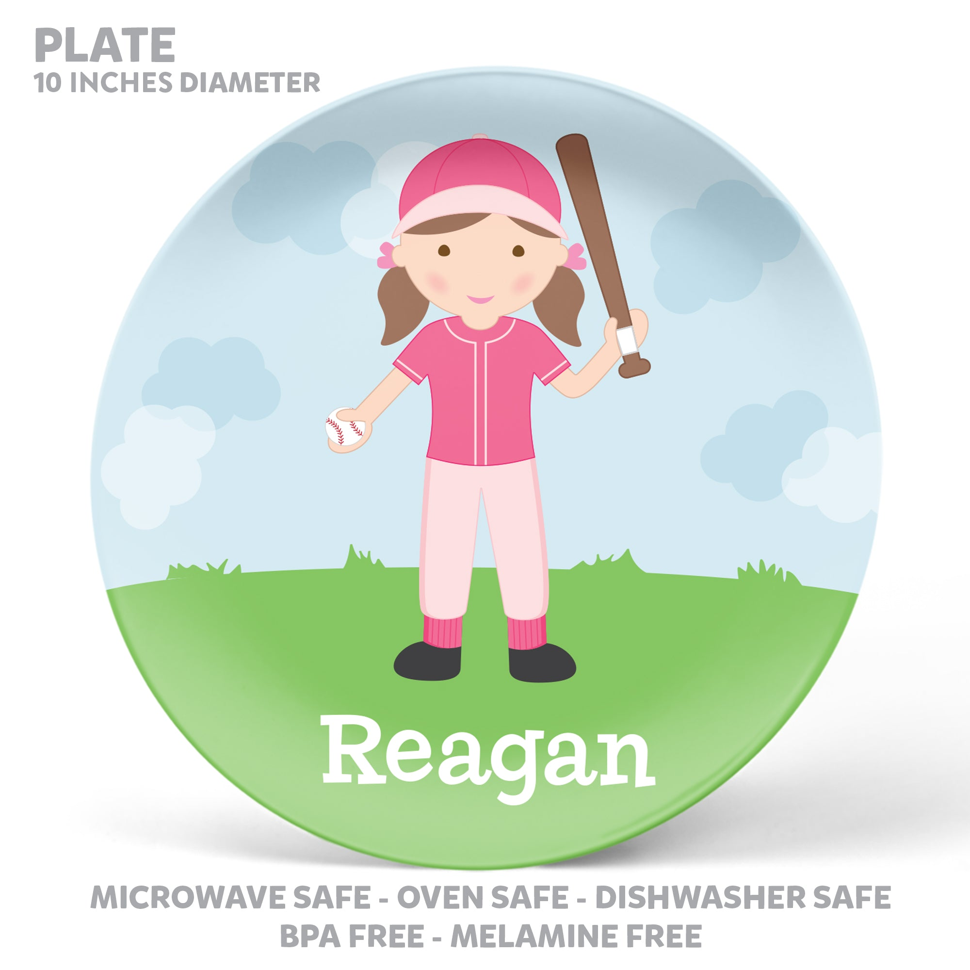Baseball Girl Personalized Mealtime Set