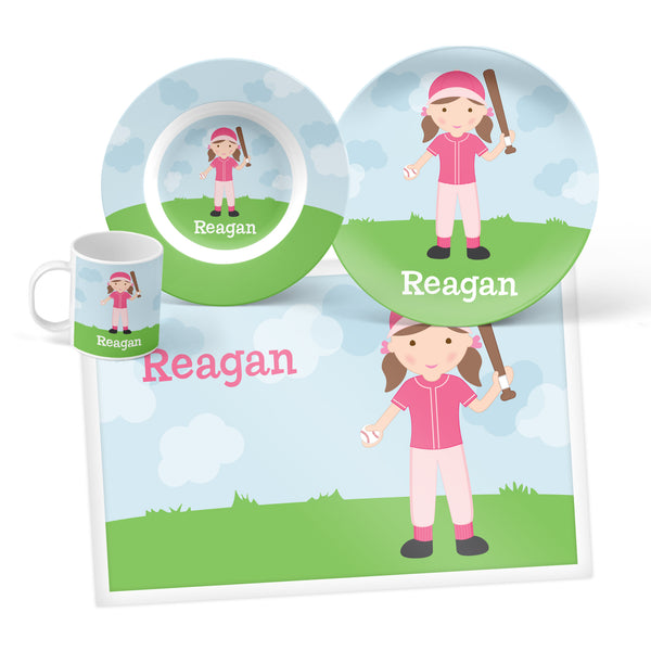 Softball Girl Personalized Mealtime Set