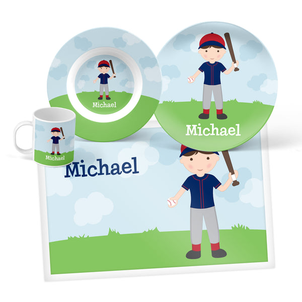 Baseball Boy Personalized Mealtime Set