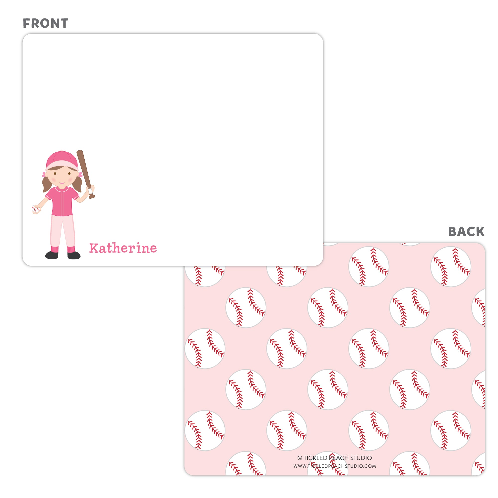 Baseball Girl Note Cards