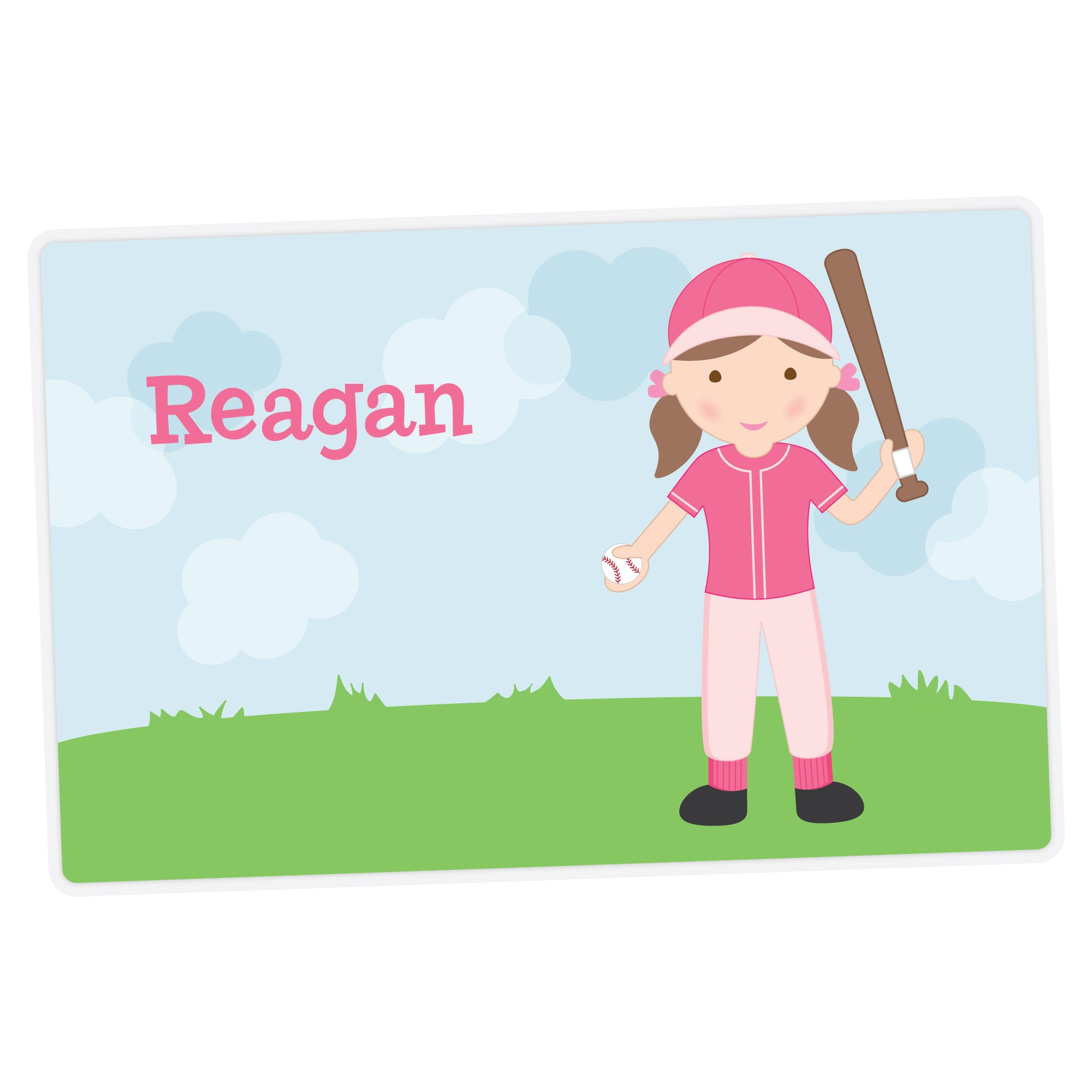 Baseball Girl Personalized Placemat