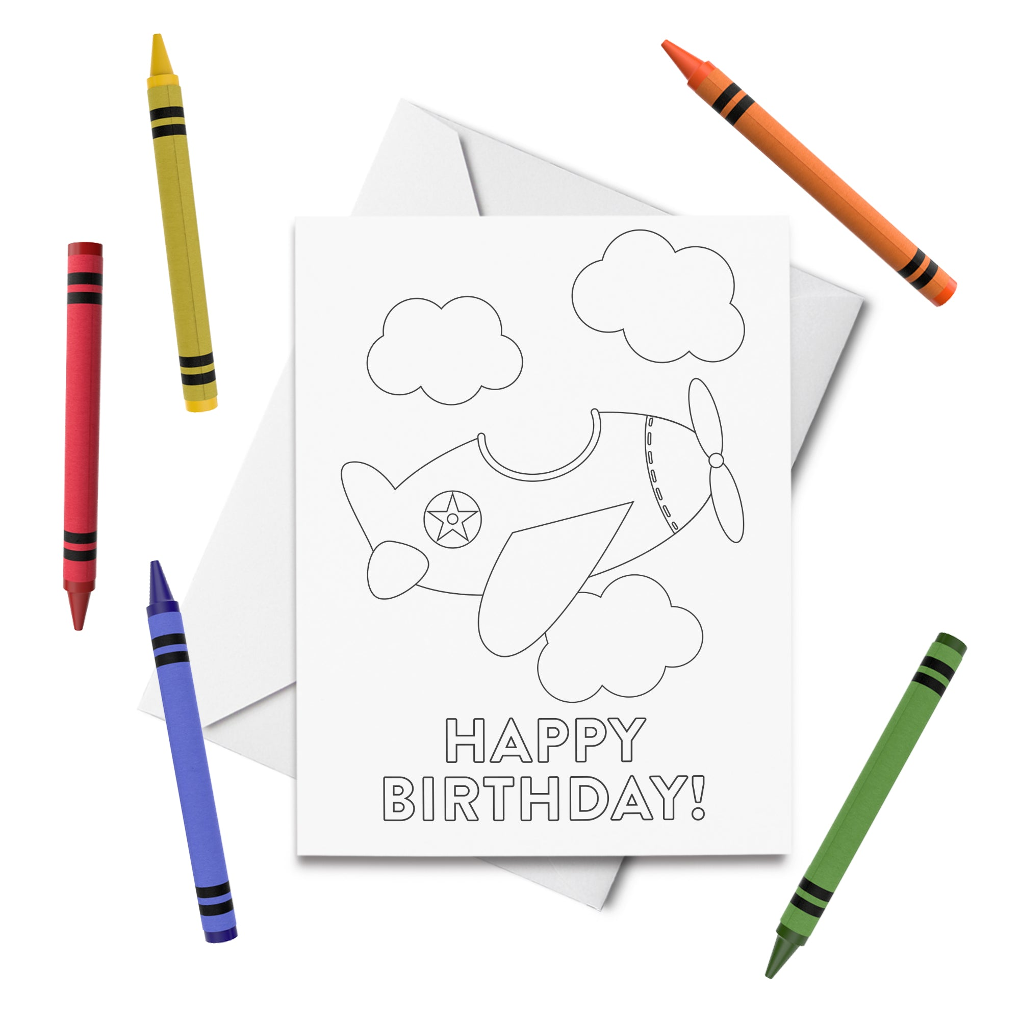PRINTABLE Airplane Birthday Coloring Card