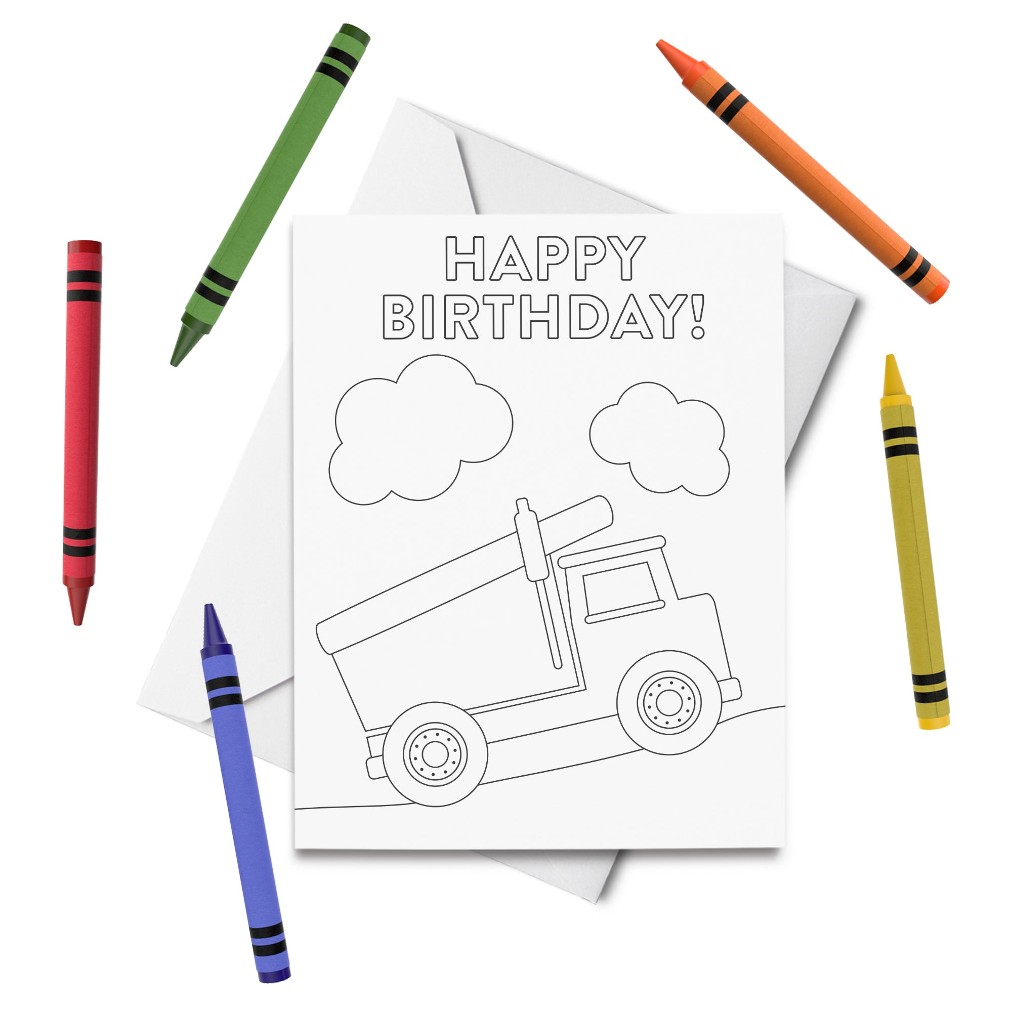 PRINTABLE Dump Truck Birthday Coloring Card