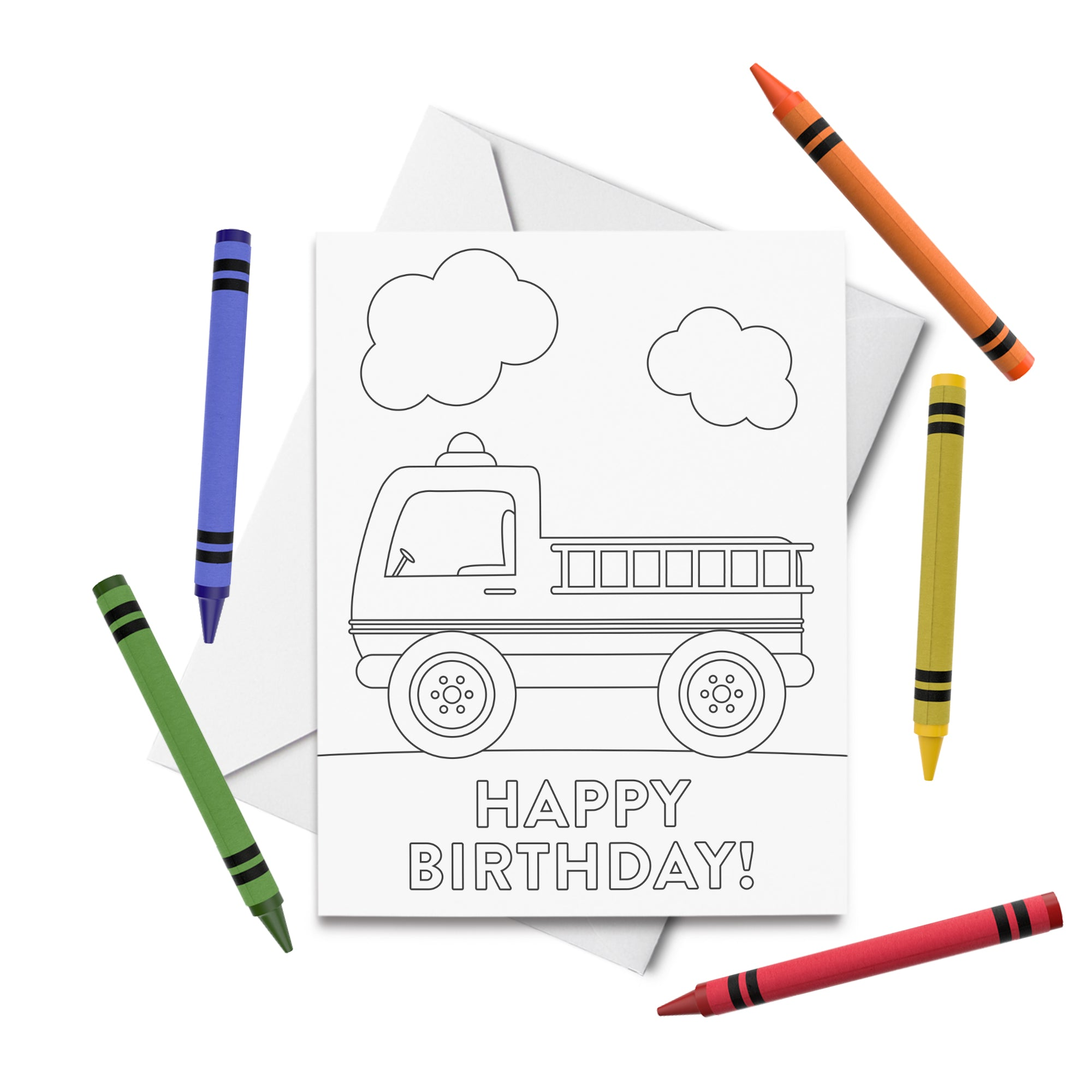 PRINTABLE Firetruck Birthday Coloring Card
