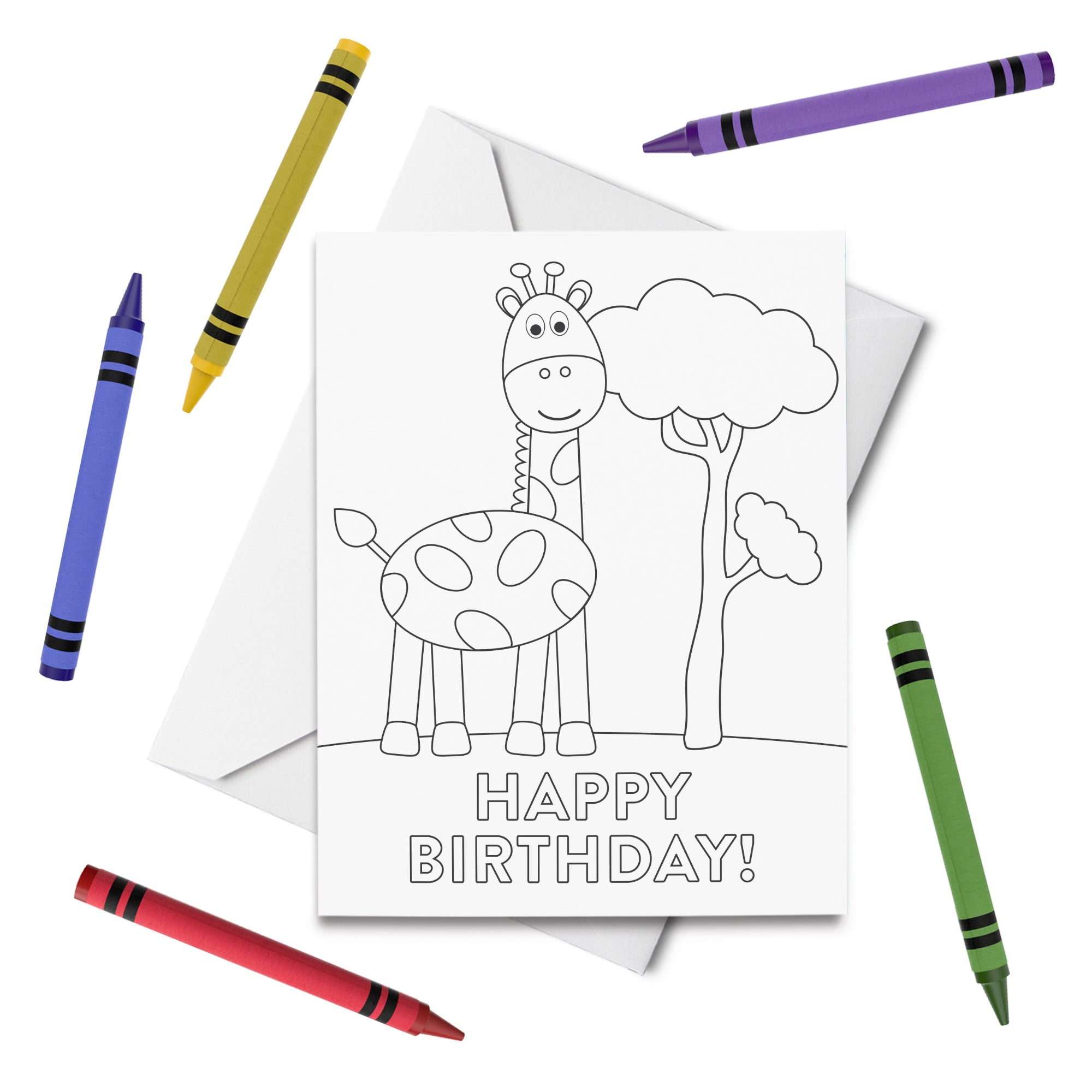 PRINTABLE Giraffe Birthday Coloring Card