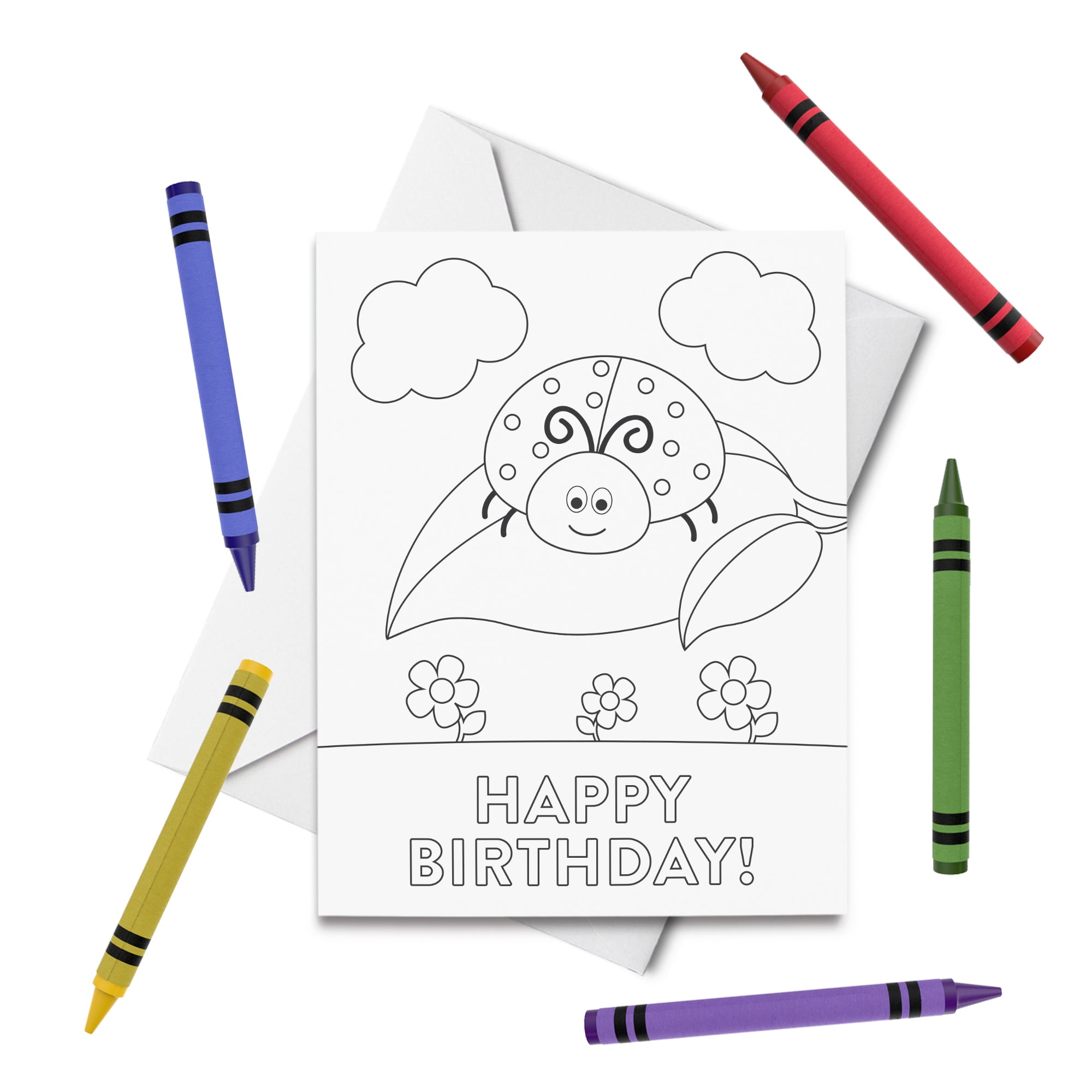 PRINTABLE Ladybug Birthday Coloring Card