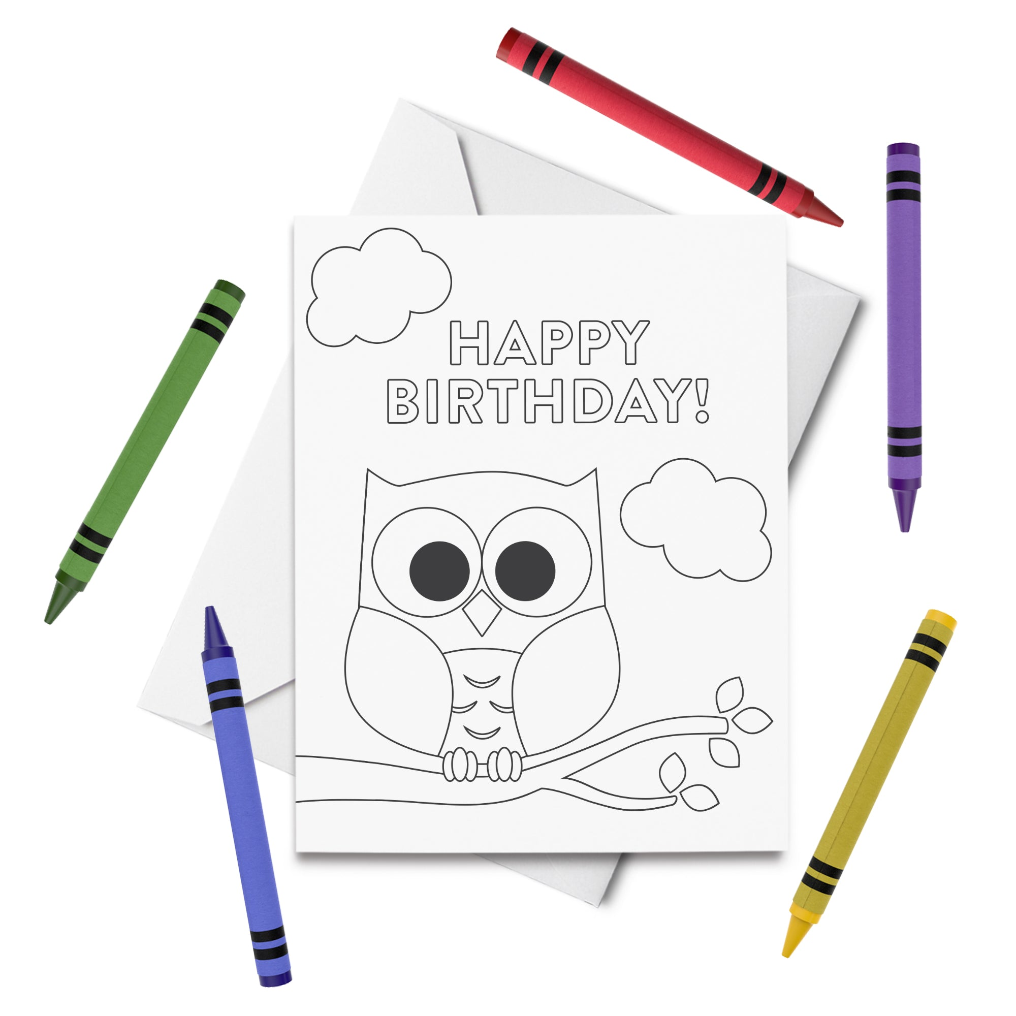 PRINTABLE Owl Birthday Coloring Card