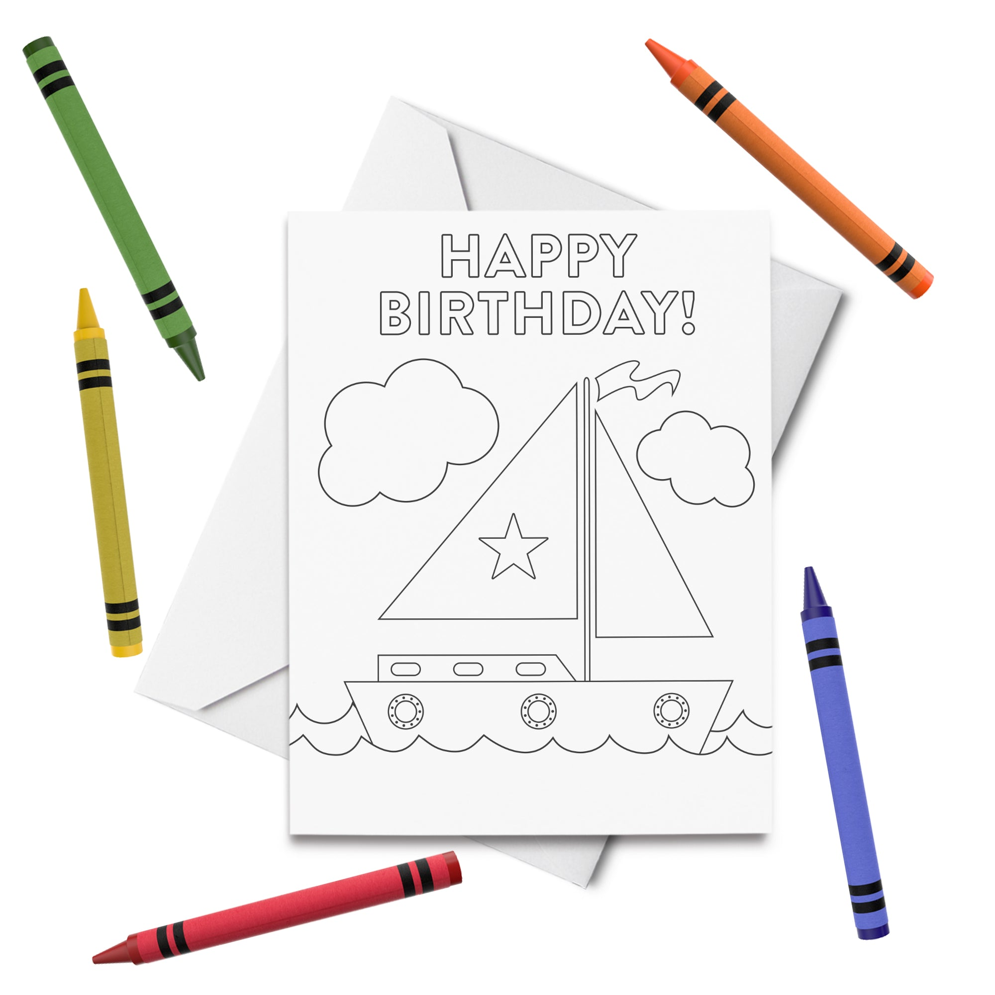 PRINTABLE Sailboat Birthday Coloring Card