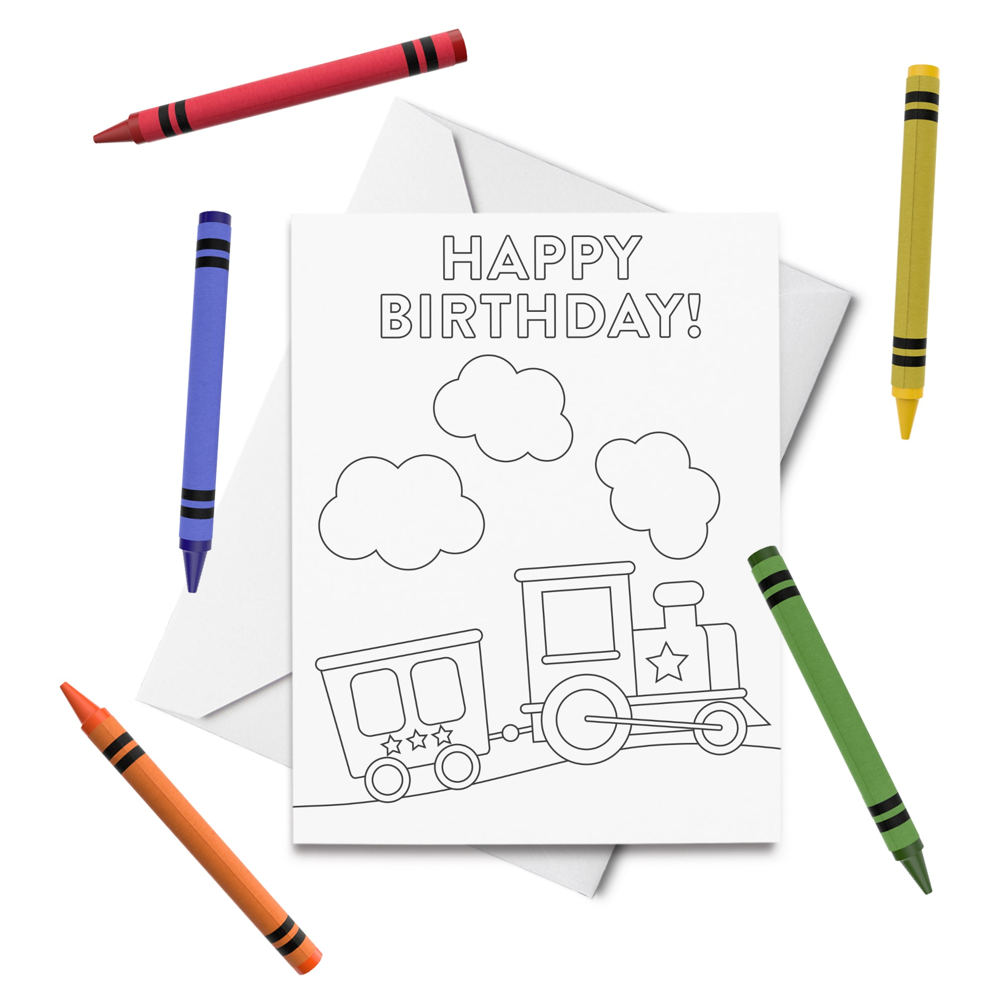 PRINTABLE Train Birthday Coloring Card