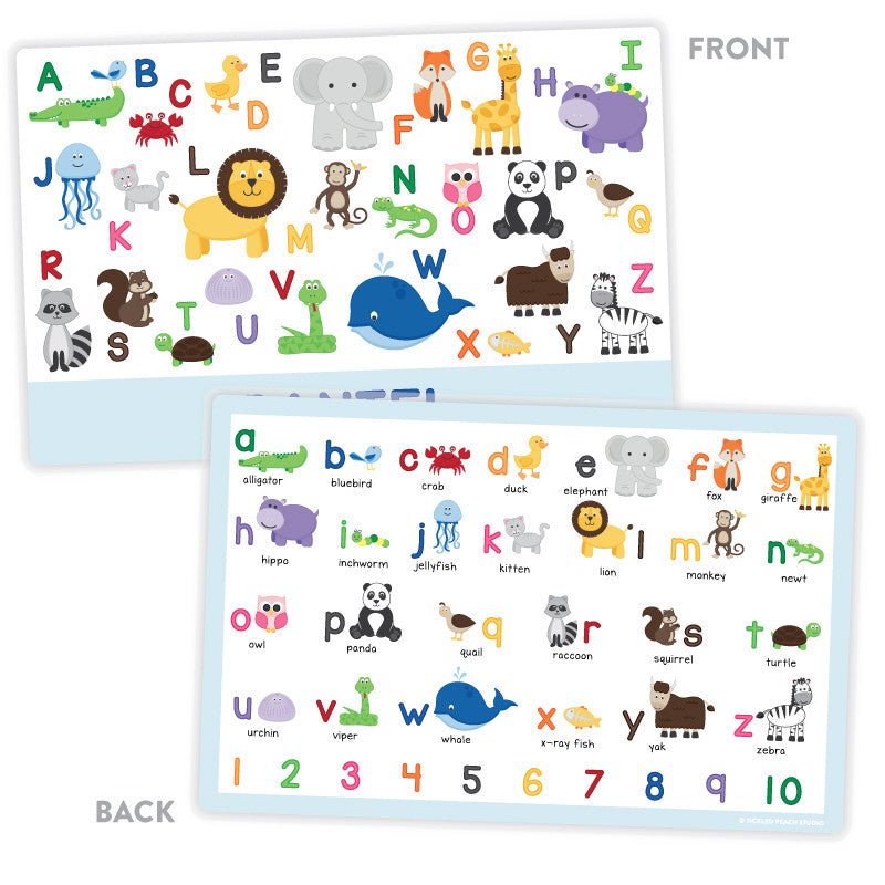 Personalized Kids Placemat - Animal Alphabet Boy