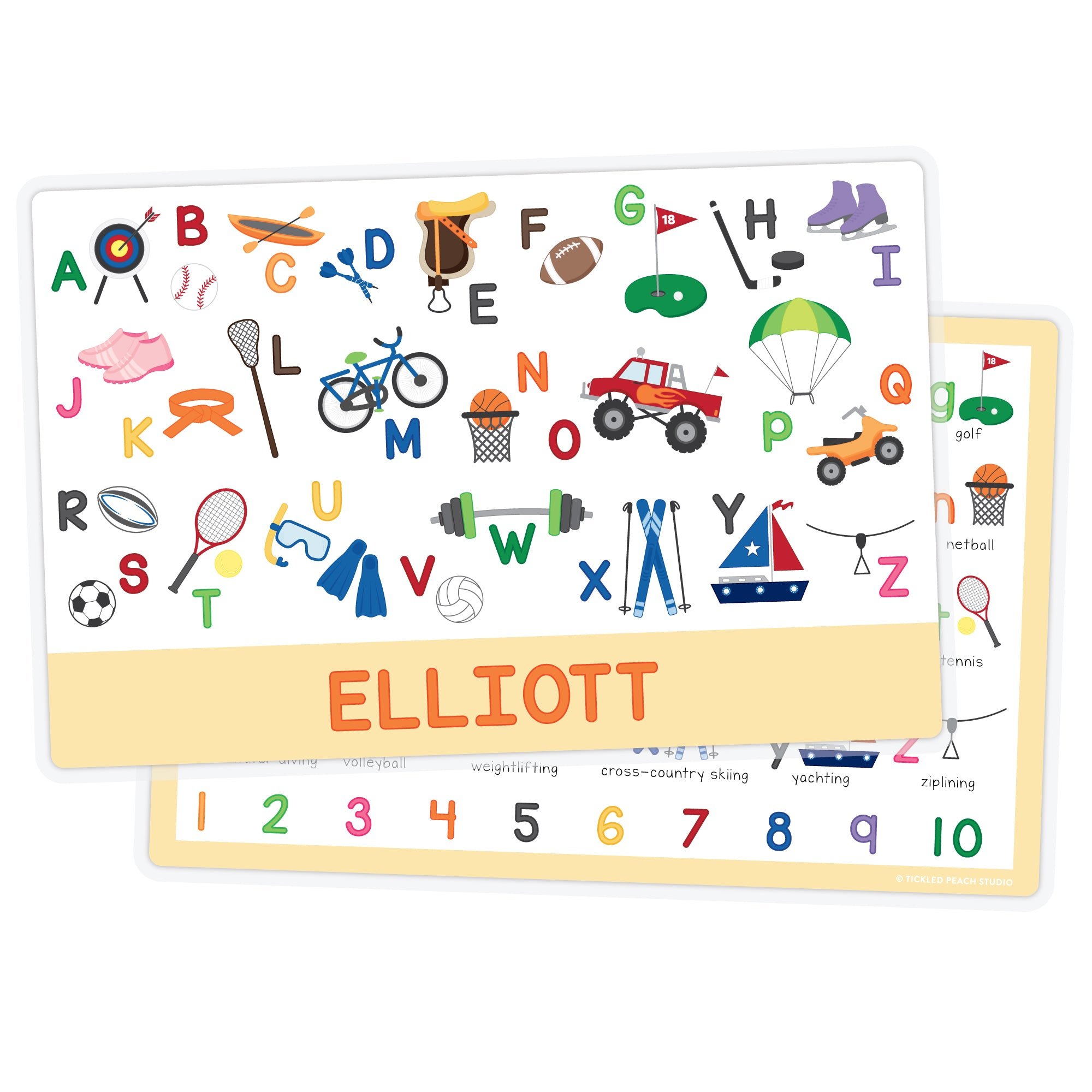 Personalized Kids Placemat - Sports Alphabet Boy