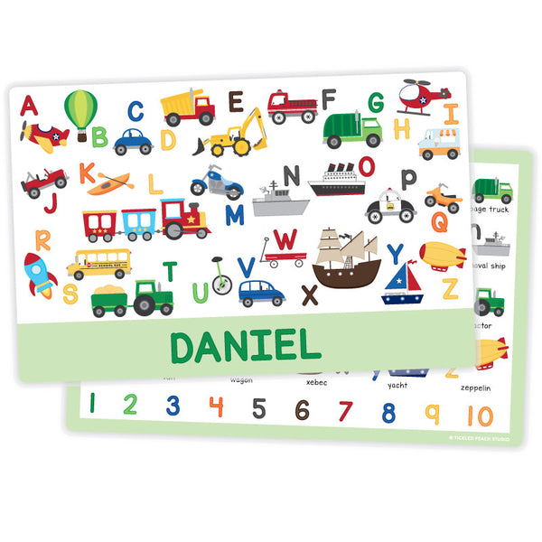 Personalized Kids Placemat - Transportation Alphabet Boy