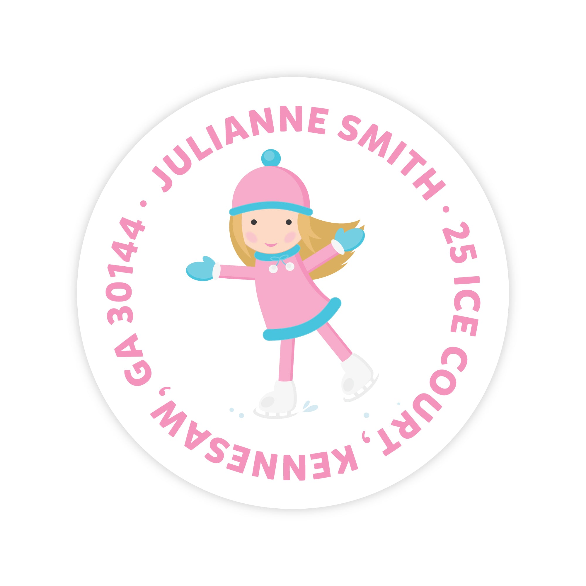Ice Skating Girl Address Labels
