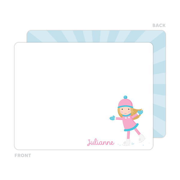 Ice Skating Girl Note Cards