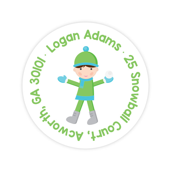 Snowball Boy Address Labels