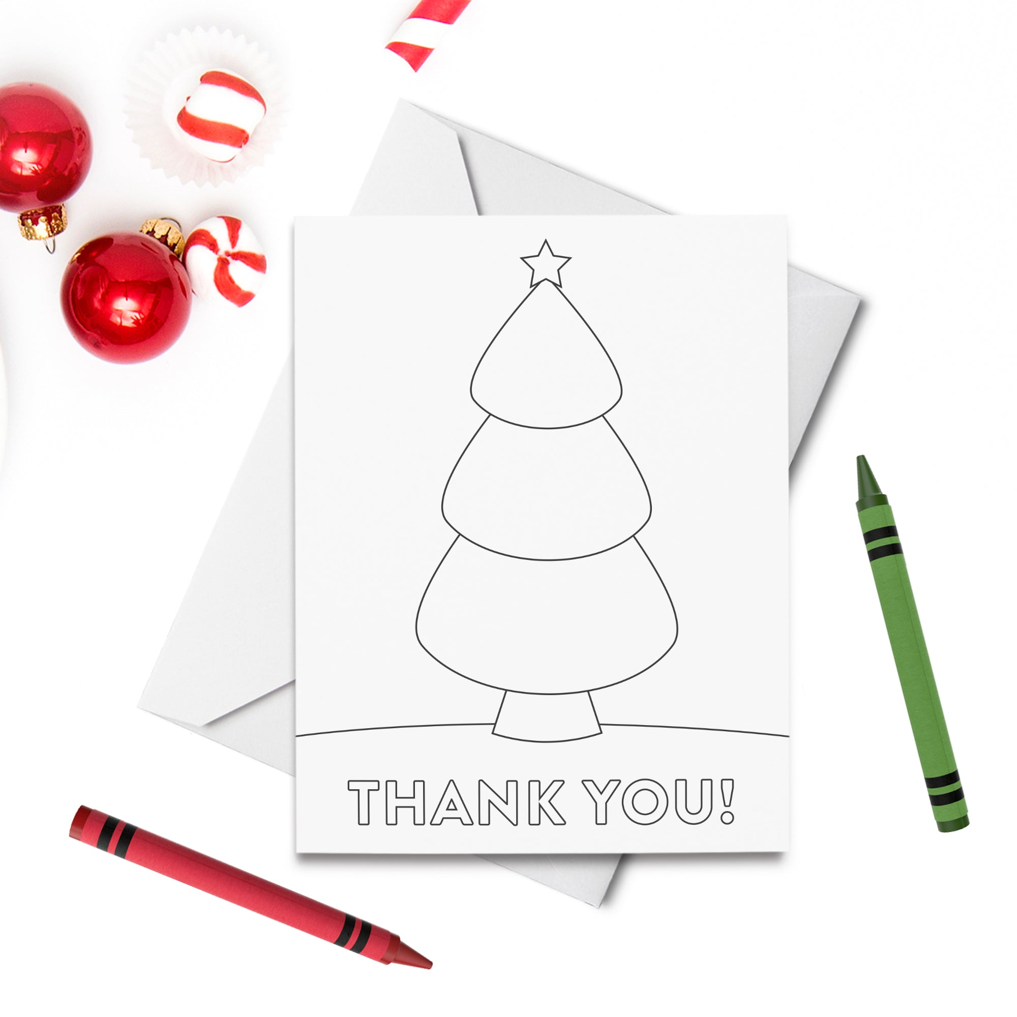 PRINTABLE Christmas Tree Thank You Coloring Card