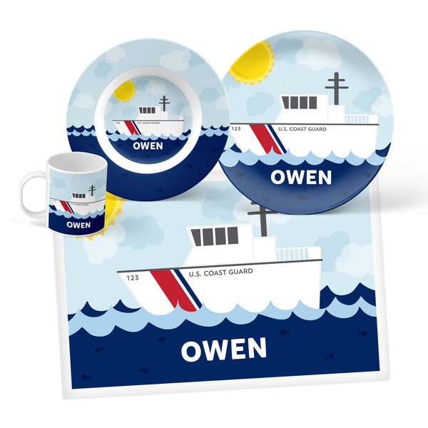 Coast Guard Boat Personalized Mealtime Set