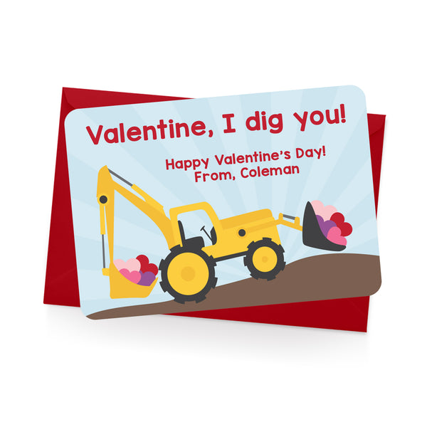 Construction Personalized Valentine's Day Cards
