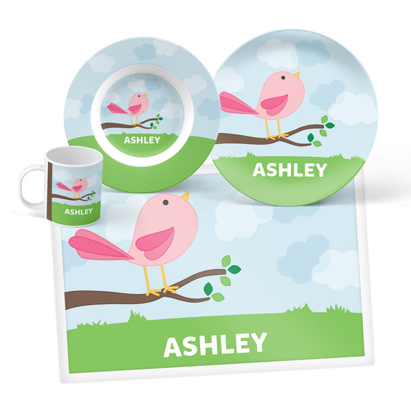 Cute Bird Personalized Mealtime Set